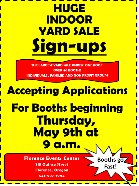 Indoor Yard Sale Vertical Poster sign ups 6.15.19